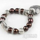 brown acrylic pearl tibet silver bracelet wirh heart charm