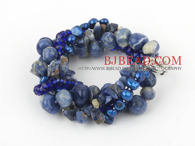 Multi Strand Deark Blue Pearl Crystal and Sodalite Bracelet