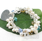 sparkly pearl and crystal bracelet with heart shape charm