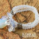 Three Strand Opal Crystal Elastic Bangle Bracelet