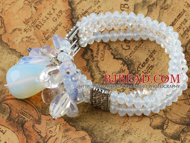 Three Strand Opal Crystal Elastic Bangle Bracelet