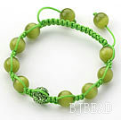 Yellow Green Series 10mm Round Cats Eye and Rhinestone Beads Adjustable Drawstring Bracelet
