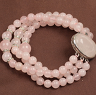 Fashion Three Strand Rose Quartz Beads Bracelet