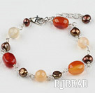 pearl and agate bracelet with extendable chain