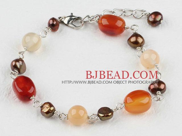 bd2d80a4f7c1 ágata y pulsera de perlas con cadena extensible