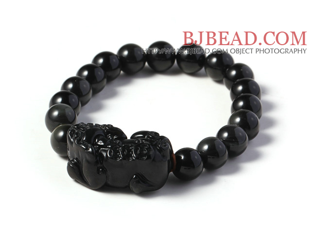 Amazing High Quality 12mm Hematite Beads with Rainbow Eye Stretchy Bracelet with Pi Xiu Accessory