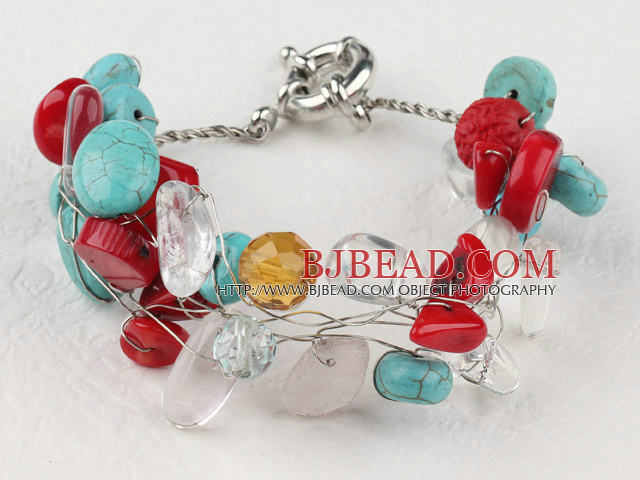 turquoise and coral bracelet with moonlight clasp