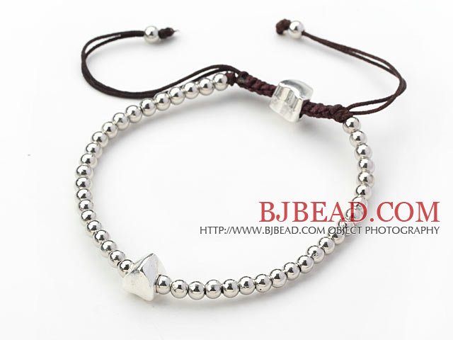 Round Metal Beads Woven Adjustable Drawstring Bracelet with Brown Thread