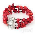 multi strand red coral bracelet