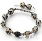 Gray Series 10mm Round Spots Stone and Rhinestone Beads Adjustable Drawstring Bracelet