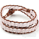 Two Rows Round Rose Quartz Beads Woven Wrap Bangle Bracelet with Metal Clasp
