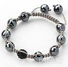 Black Series 10mm Round Tungsten Steel Stone and Rhinestone Beads Adjustable Drawstring Bracelet