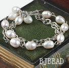double strand white pearl bracelet with toggle clasp