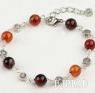 fancy 8mm round agate bracelet with extendable chain under $ 40