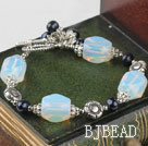 black pearl opal stone bracelet