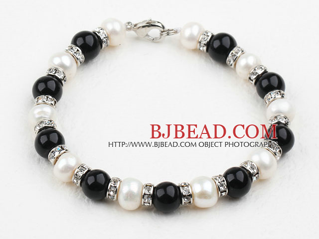 White Freshwater Pearl and Black Agate Bracelet with Rhinestone