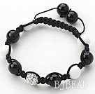 Black Series 10mm Round Black Agate and White Porcelain Stone and Rhinestone Beads Adjustable Drawstring Bracelet