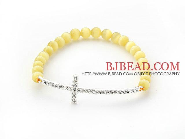 Yellow Series Yellow Cats Eye and Sideway/Side Way White Rhinestone Cross Stretch Bracelet