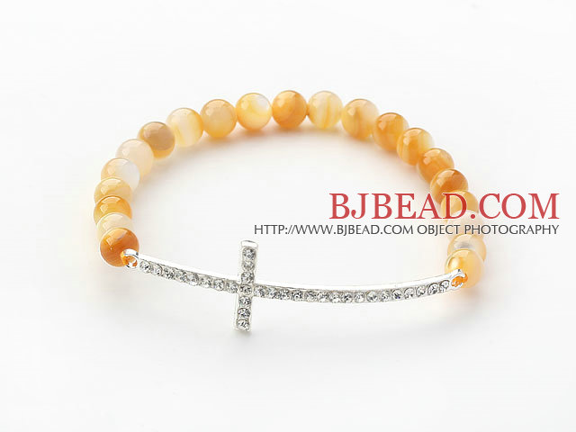 Golden Series Golden Color Mother of Pearl and Sideway/Side Way White Rhinestone Cross Stretch Bracelet
