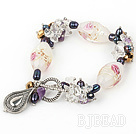 fashion multi color pearl and colored glaze bracelet