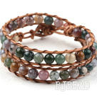 Two Rows Round Indian Agate Beads Woven Wrap Bangle Bracelet with Metal Clasp