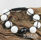 black agate and white sea shell bracelet