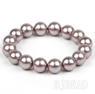 12mm Round Purple Seashell bead Elastic bracelet