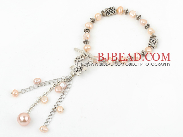fashion natural pink pearl bracelet with toggle clasp