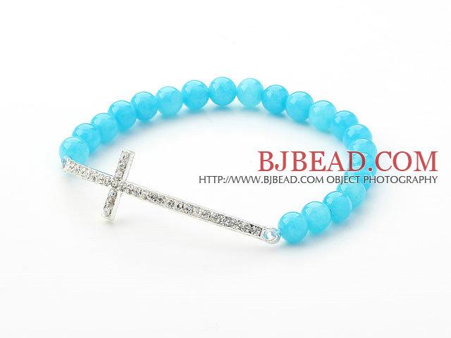 Lake Blue Series 6mm Lake Blue Jade and Sideway/Side Way White Rhinestone Cross Stretch Bracelet