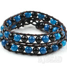 Two Rows Round Black and Blue Agate Beads Weaved Wrap Bangle Bracelet with Metal Clasp