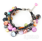 7 inches multi color pearl shell bracelet with lobster clasp
