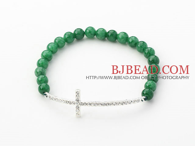 Dark Green Series 6mm Dark Green Jade and Sideway/Side Way White Rhinestone Cross Stretch Bracelet