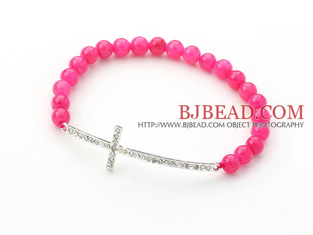 Hot Pink Series 6mm Hot Pink Jade and Sideway/Side Way White Rhinestone Cross Stretch Bracelet