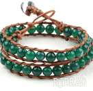Two Rows Round Green Agate Beads Woven Wrap Bangle Bracelet with Metal Clasp