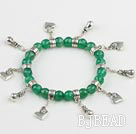 faceted green agate bracelet with lovely charms