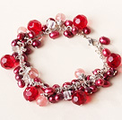 red pearl and crystal bracelet with extendable chain