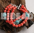 3 strand coral and turquoise bracelet under $ 40