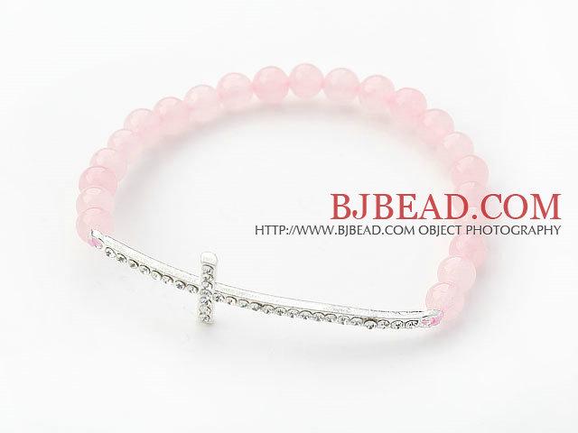 Pink Series 6mm Rose Quartz and Sideway/Side Way White Rhinestone Cross Stretch Bracelet