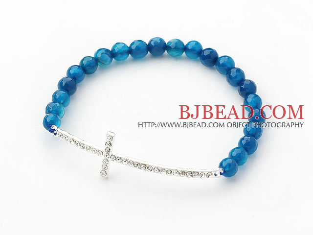 Dark Blue Series 6mm Blue Agate and Sideway/Side Way White Rhinestone Cross Stretch Bracelet