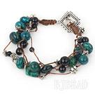 multi strand phoenix stone black agate bracelet
