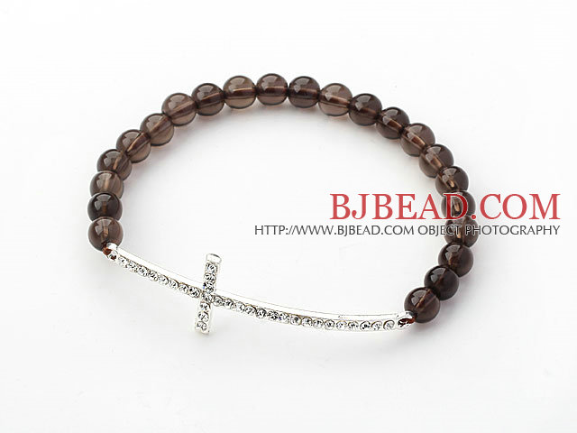 Brown Series 6mm Smoky Quartz and Sideway/Side Way White Rhinestone Cross Stretch Bracelet