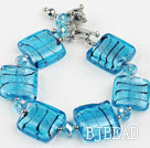 sea blue colored glaze and  crystal bracelet with toggle clasp under $ 40