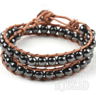 Two Rows Round Hematite Beads Woven Wrap Bangle Bracelet with Metal Clasp