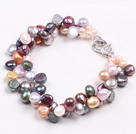Fashion Multi Strand Multi Color Natural Freshwater Pearl Bracelet With Big Lobster Clasp