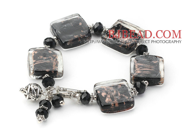 brown colored glaze and  black crystal bracelet with toggle clasp