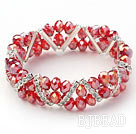 Two Rows Red Jade Crystal Stretch Bangle Bracelet with Rhinestone