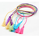 5 Pcs Multi Color Thread Woven Adjustable Drawstring Bracelet With Tassel Charm under $ 7