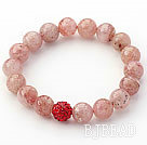 Light Pink Series 10mm Round Strawberry Quartz and Rhinestone Beaded Stretch Bracelet