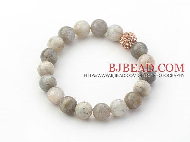 grigio serie 10 millimetri grigio pietra di luna e perline strass regolabile con coulisse bracciale. Black Bedroom Furniture Sets. Home Design Ideas