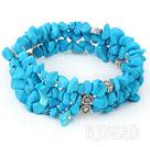 multi strand blue turquoise chips bracelet